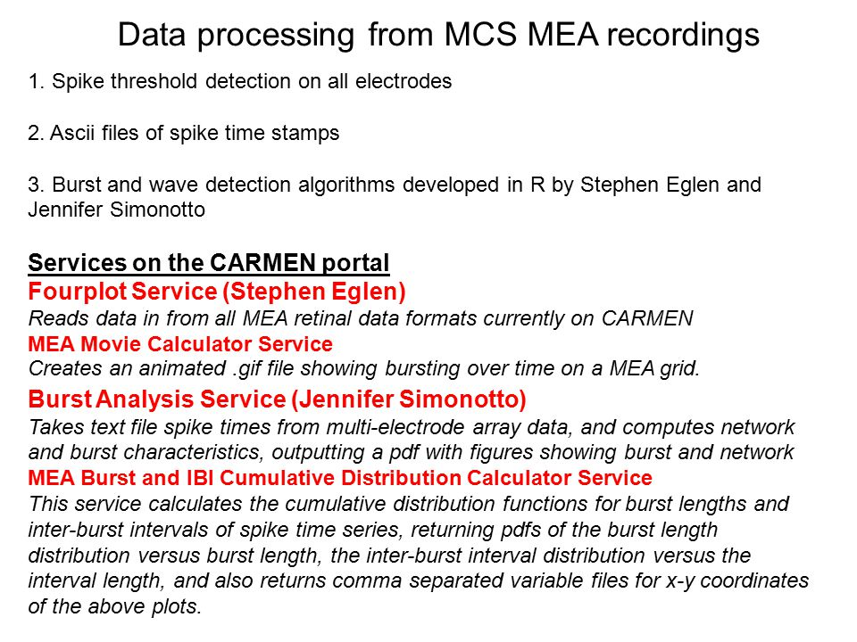 Data processing from MCS MEA recordings 1. Spike threshold detection on all electrodes 2. Ascii files of spike time stamps 3. Burst and wave detection