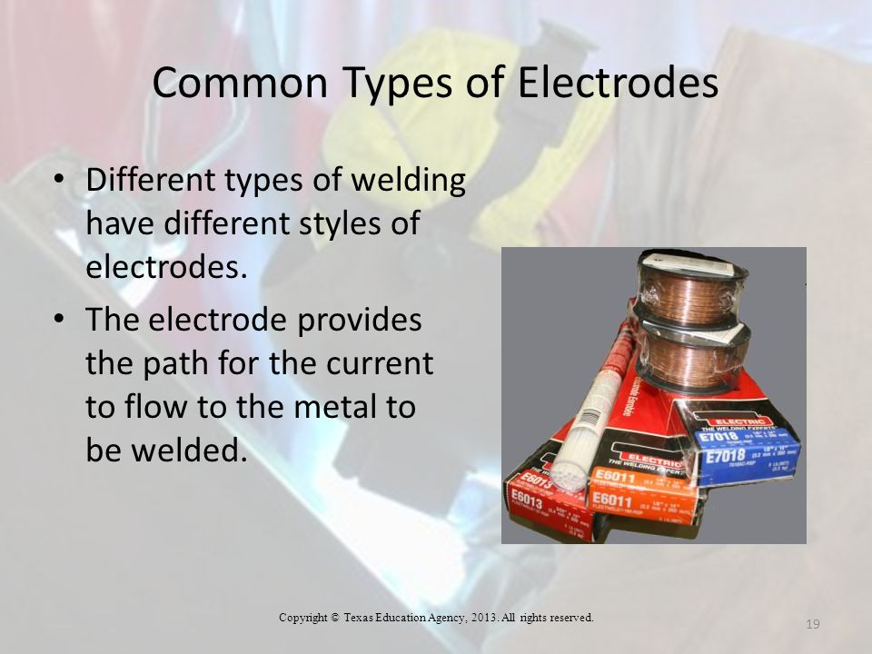 Common Types of Electrodes Different types of welding have different styles of electrodes. The electrode provides the path for the current to flow to