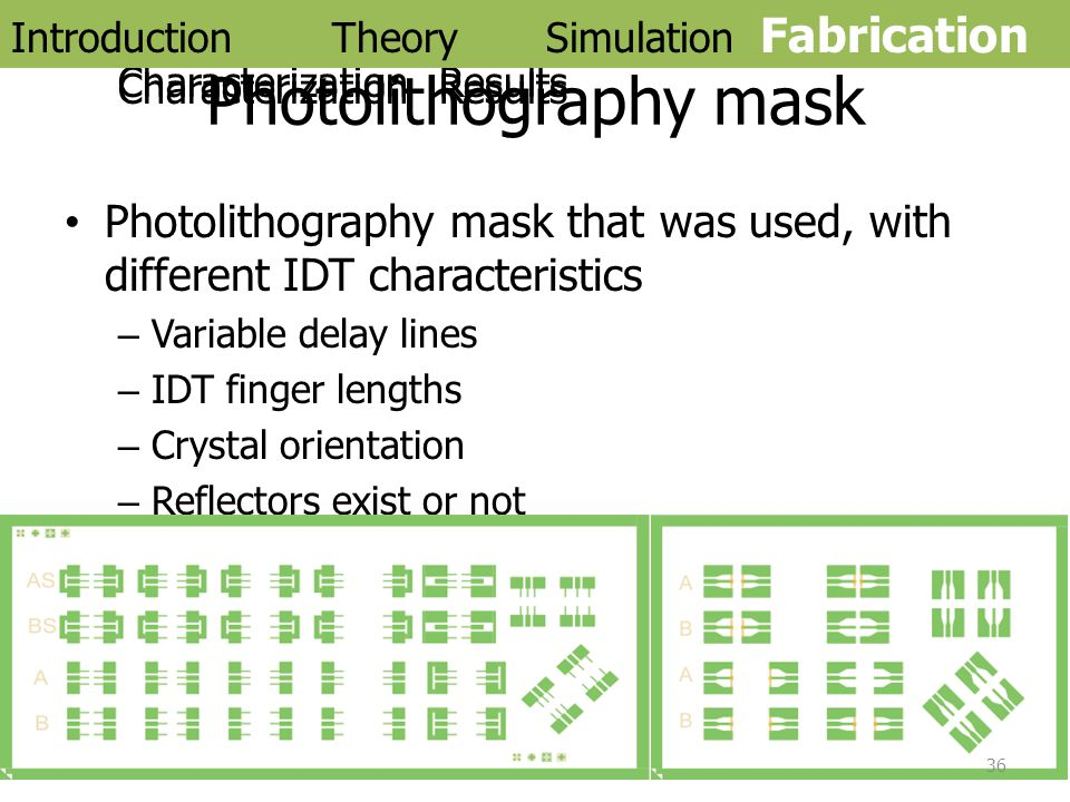 Photolithography mask Photolithography mask that was used, with different IDT characteristics –Variable delay lines –IDT finger lengths –Crystal orien