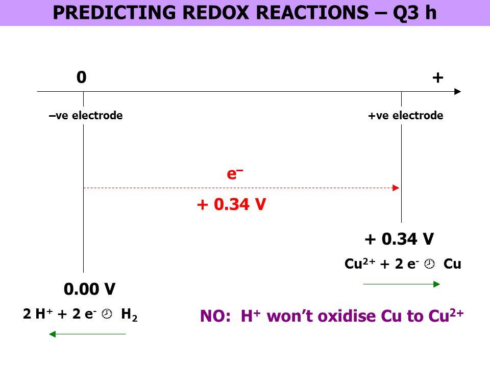 0 + 1.36 V MnO 4 - + 8 H + + 5 e -  Mn 2+ + 4 H 2 O + 1.51 V Cl 2 + 2 e -  2 Cl - PREDICTING REDOX REACTIONS – Q4 + + 1.33 V Cr 2 O 7 2- + 14 H + + 6 e -  2 Cr 3+ + 7 H 2 O + 0.77 V Fe 3+ + e -  Fe 2+ YES NO