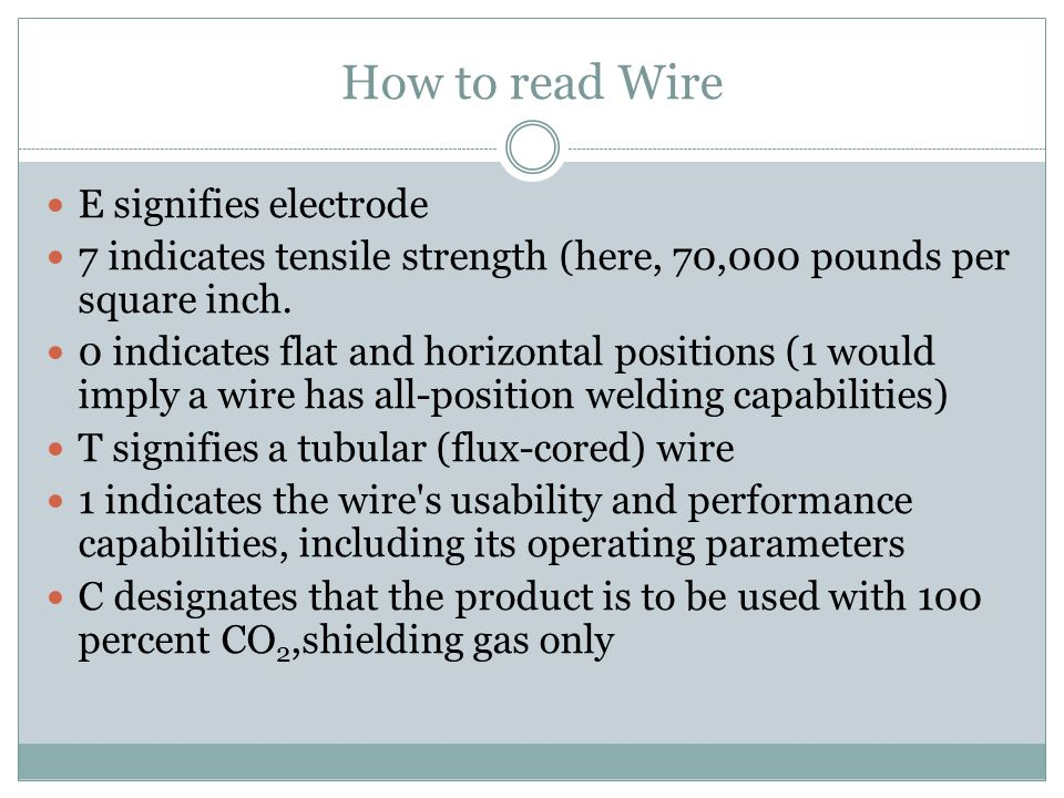 How to read Wire E signifies electrode 7 indicates tensile strength (here, 70,000 pounds per square inch. 0 indicates flat and horizontal positions (1