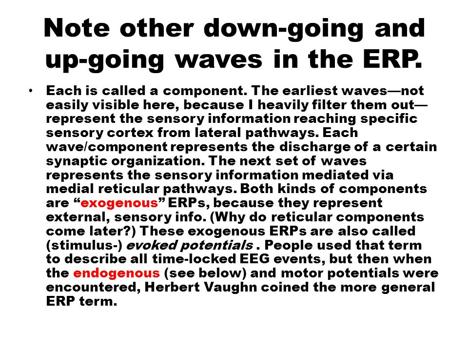 Note other down-going and up-going waves in the ERP.