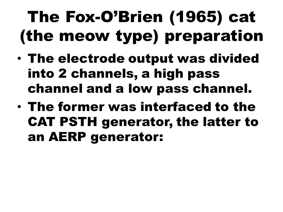 The Fox-O'Brien (1965) cat (the meow type) preparation The electrode output was divided into 2 channels, a high pass channel and a low pass channel. T