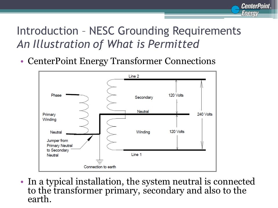 Introduction – NESC Grounding Requirements, Cont'd An Illustration of What is Permitted Typical Open Delta Equipment bonding on a pole Connections All equipment on the pole is bonded together and connected to the neutral.
