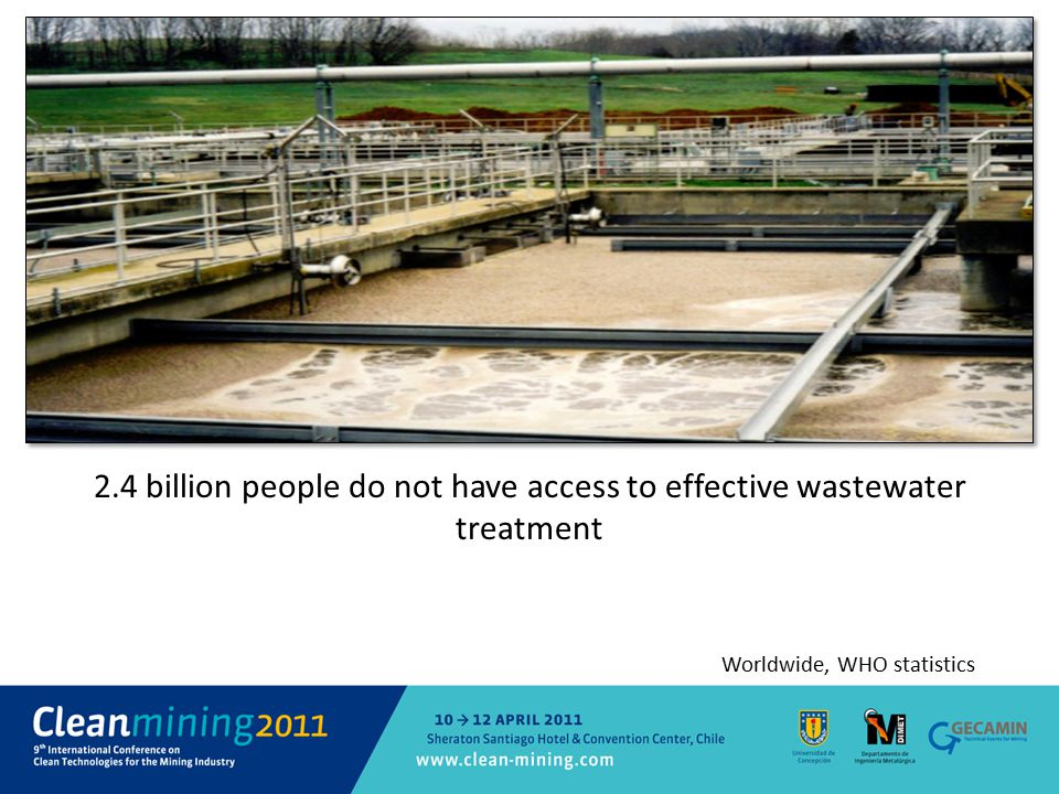 2.4 billion people do not have access to effective wastewater treatment Worldwide, WHO statistics