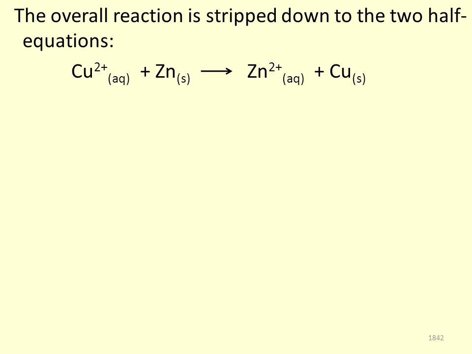 The overall reaction is stripped down to the two half- equations: Cu 2+ (aq) + Zn (s) Zn 2+ (aq) + Cu (s) 1842