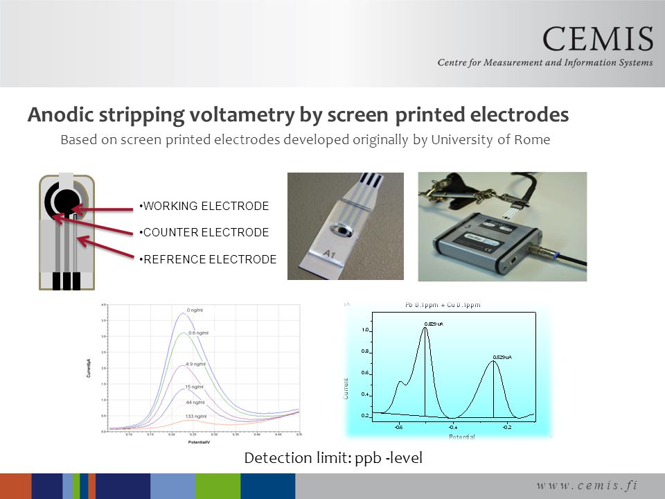 www.cemis.fi Anodic stripping voltametry by screen printed electrodes Based on screen printed electrodes developed originally by University of Rome Detection limit: ppb -level WORKING ELECTRODE COUNTER ELECTRODE REFRENCE ELECTRODE