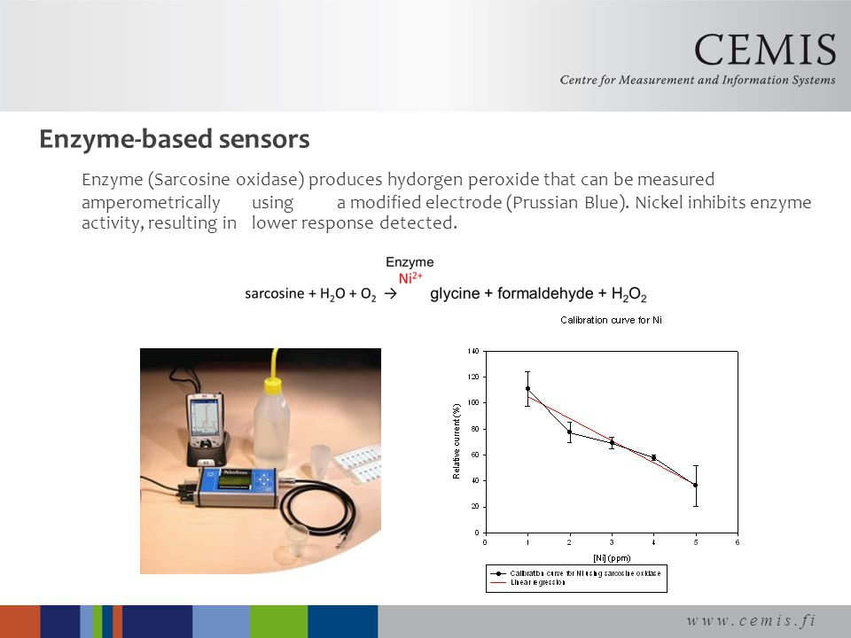 www.cemis.fi Enzyme-based sensors Enzyme (Sarcosine oxidase) produces hydorgen peroxide that can be measured amperometrically using a modified electrode (Prussian Blue).