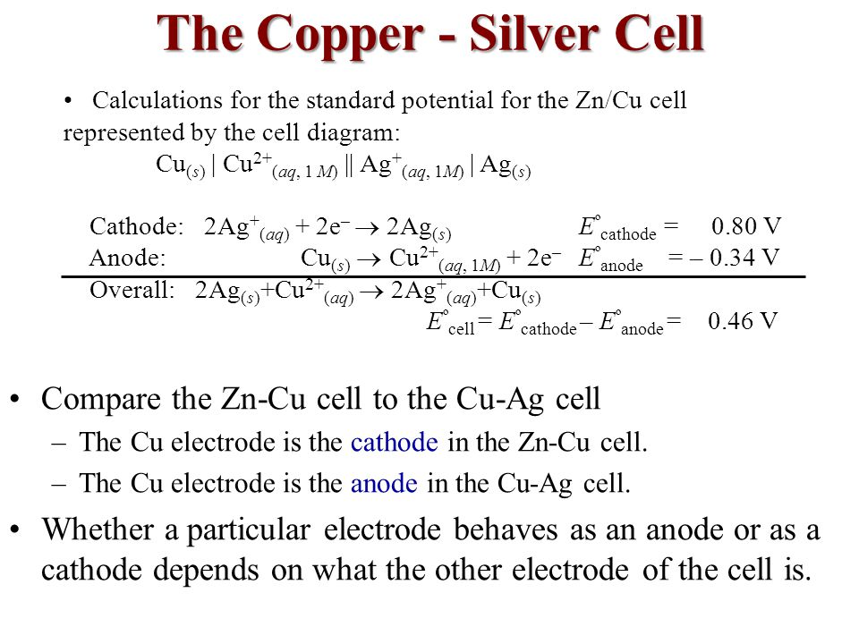 The Copper - Silver Cell Compare the Zn-Cu cell to the Cu-Ag cell –The Cu electrode is the cathode in the Zn-Cu cell.