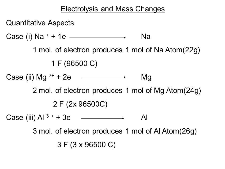 Electrolysis and Mass Changes Quantitative Aspects Case (i) Na + + 1eNa 1 mol.