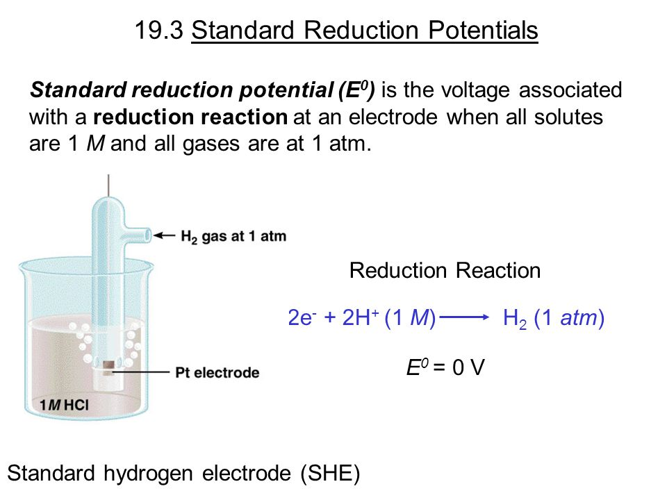 19.3 Standard Reduction Potentials Standard reduction potential (E 0 ) is the voltage associated with a reduction reaction at an electrode when all solutes are 1 M and all gases are at 1 atm.