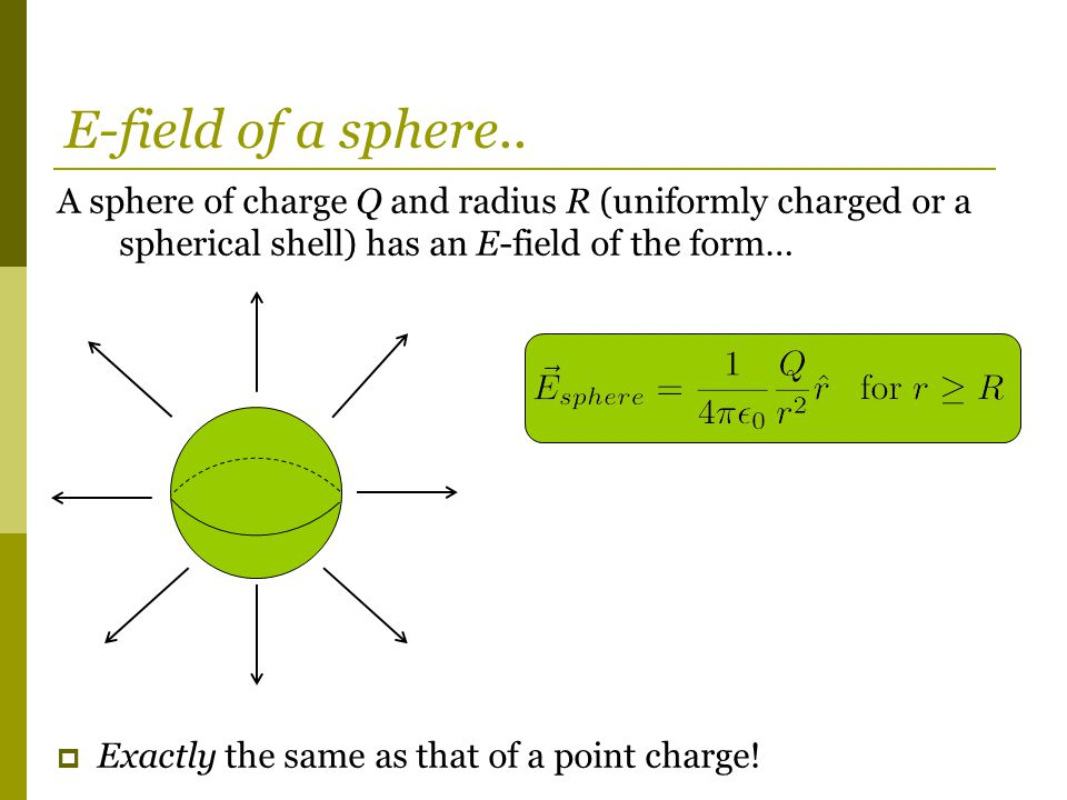 A sphere of charge Q and radius R (uniformly charged or a spherical shell) has an E-field of the form…  Exactly the same as that of a point charge.