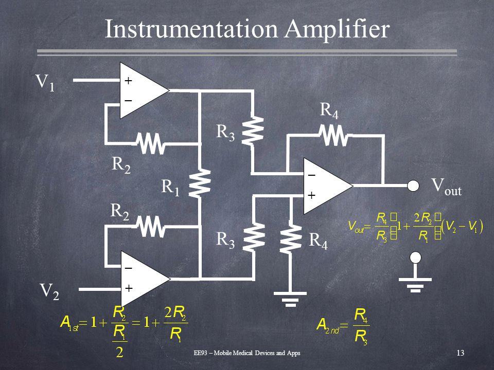 Instrumentation Amplifier 13 EE93 – Mobile Medical Devices and Apps V1V1 V out – + – + – + V2V2 R2R2 R1R1 R2R2 R3R3 R3R3 R4R4 R4R4