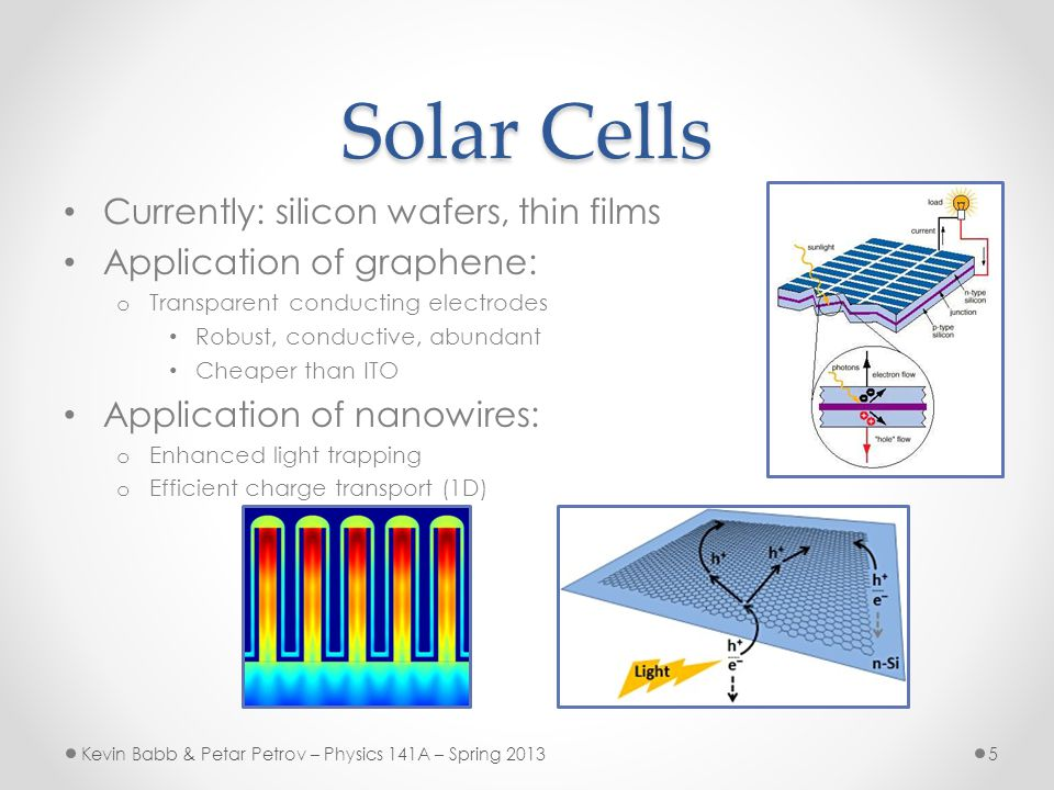 Solar Cells Currently: silicon wafers, thin films Application of graphene: o Transparent conducting electrodes Robust, conductive, abundant Cheaper than ITO Application of nanowires: o Enhanced light trapping o Efficient charge transport (1D) Kevin Babb & Petar Petrov – Physics 141A – Spring 20135