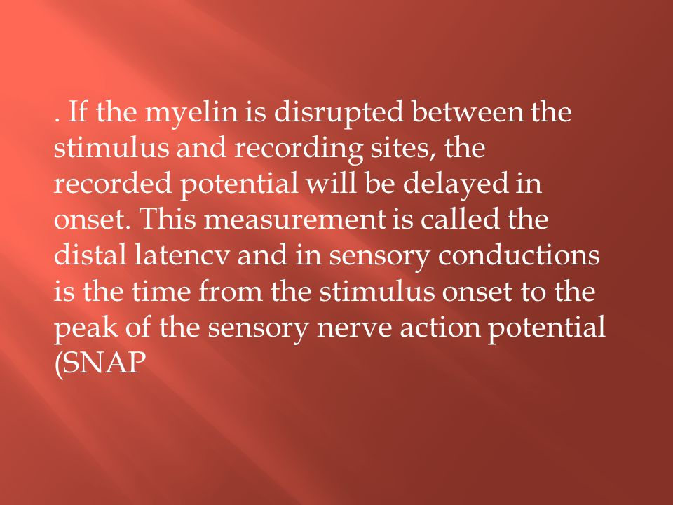 . If the myelin is disrupted between the stimulus and recording sites, the recorded potential will be delayed in onset. This measurement is called the