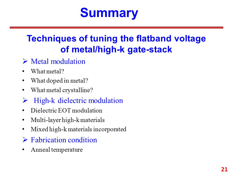 21 Summary Techniques of tuning the flatband voltage of metal/high-k gate-stack  Metal modulation What metal.