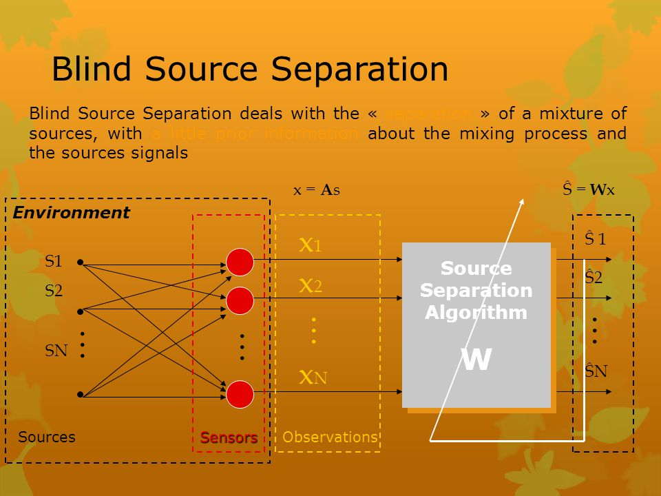 Blind Source Separation Blind Source Separation deals with the « separation » of a mixture of sources, with a little prior information about the mixin