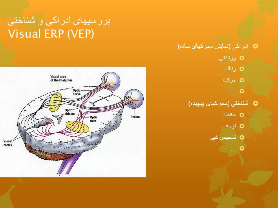 بررسیهای ادراکی و شناختی Visual ERP (VEP)  ادراکی ( نمایش محرکهای ساده )  روشنایی  رنگ  حرکت ....  شناختی ( محرکهای پیچیده )  حافظه  توجه  تش