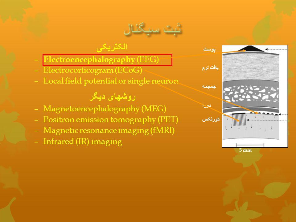 الکتریکی – Electroencephalography (EEG) –Electrocorticogram (ECoG) –Local field potential or single neuron روشهای دیگر –Magnetoencephalography (MEG) –