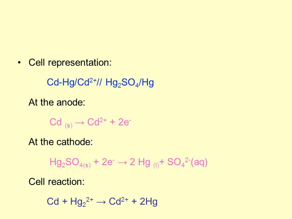 Cell representation: Cd-Hg/Cd 2+ // Hg 2 SO 4 /Hg At the anode: Cd (s) → Cd 2+ + 2e - At the cathode: Hg 2 SO 4(s) + 2e - → 2 Hg (l) + SO 4 2- (aq) Cell reaction: Cd + Hg 2 2+ → Cd 2+ + 2Hg