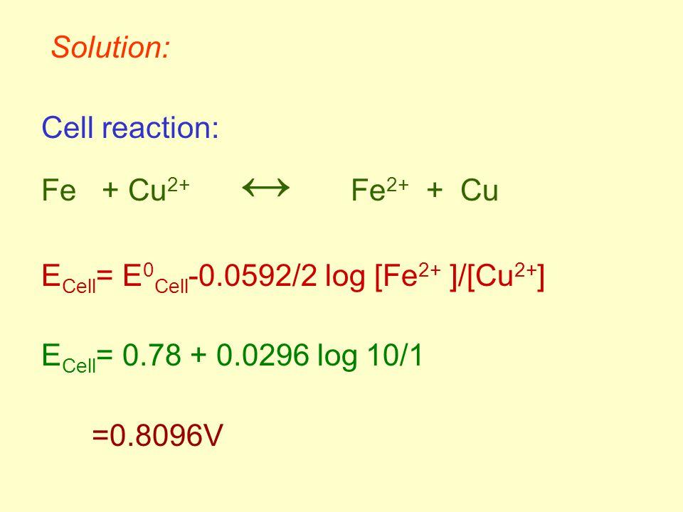 Solution: Cell reaction: Fe + Cu 2+ ↔ Fe 2+ + Cu E Cell = E 0 Cell -0.0592/2 log [Fe 2+ ]/[Cu 2+ ] E Cell = 0.78 + 0.0296 log 10/1 =0.8096V
