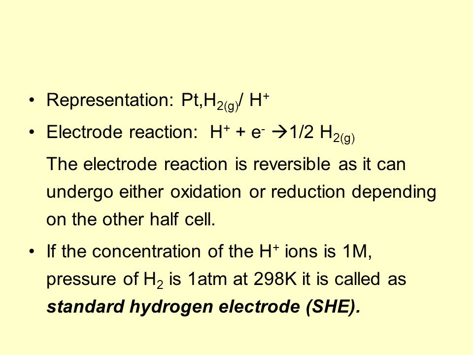 Representation: Pt,H 2(g) / H + Electrode reaction: H + + e -  1/2 H 2(g) The electrode reaction is reversible as it can undergo either oxidation or