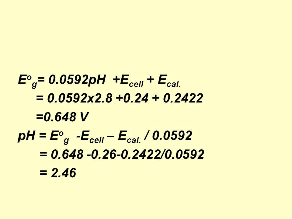 E o g = 0.0592pH +E cell + E cal. = 0.0592x2.8 +0.24 + 0.2422 =0.648 V pH = E o g -E cell – E cal.