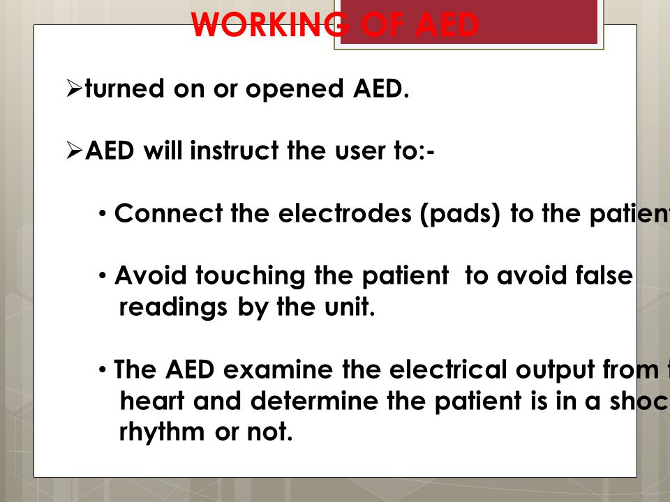 WORKING OF AED  turned on or opened AED.