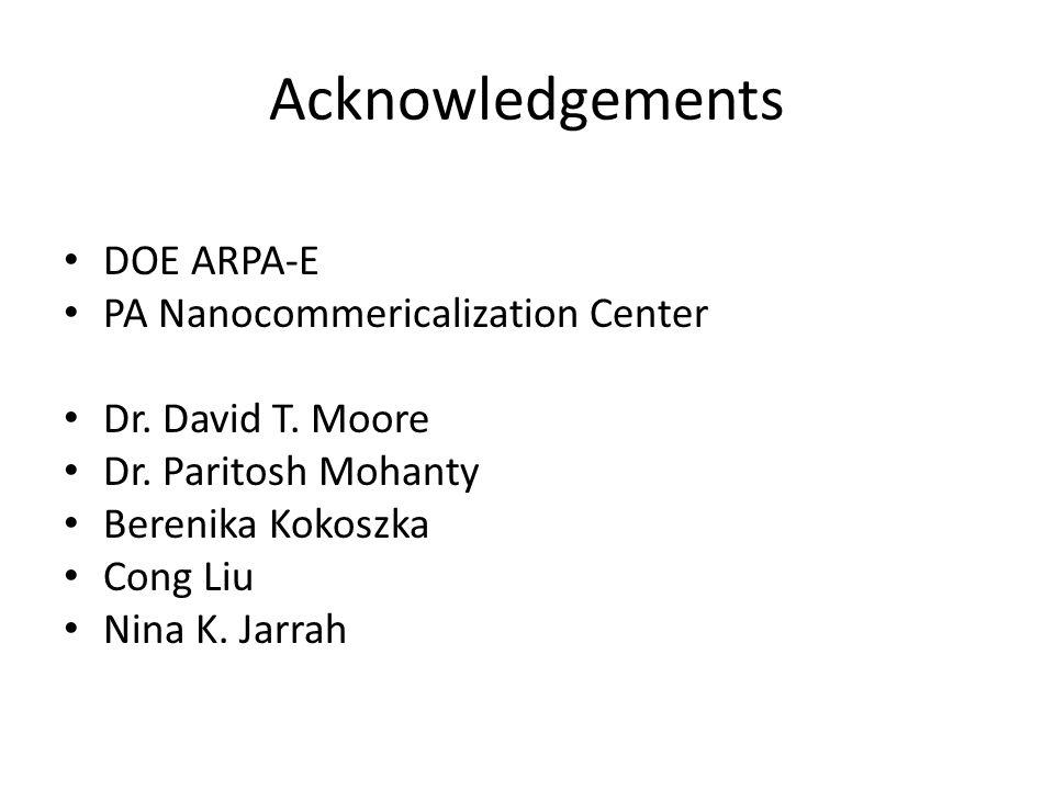 Acknowledgements DOE ARPA-E PA Nanocommericalization Center Dr. David T. Moore Dr. Paritosh Mohanty Berenika Kokoszka Cong Liu Nina K. Jarrah