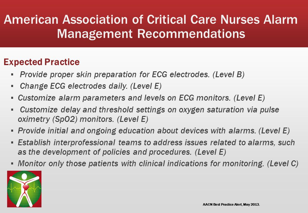 American Association of Critical Care Nurses Alarm Management Recommendations Expected Practice ▪ Provide proper skin preparation for ECG electrodes.