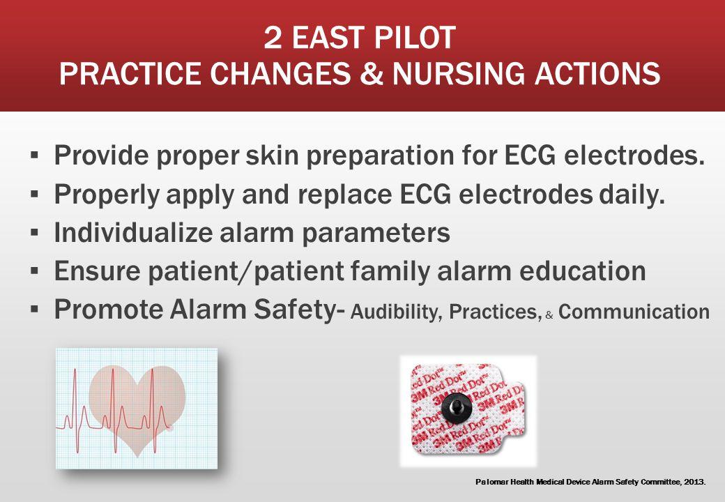 2 EAST PILOT PRACTICE CHANGES & NURSING ACTIONS ▪ Provide proper skin preparation for ECG electrodes. ▪ Properly apply and replace ECG electrodes dail