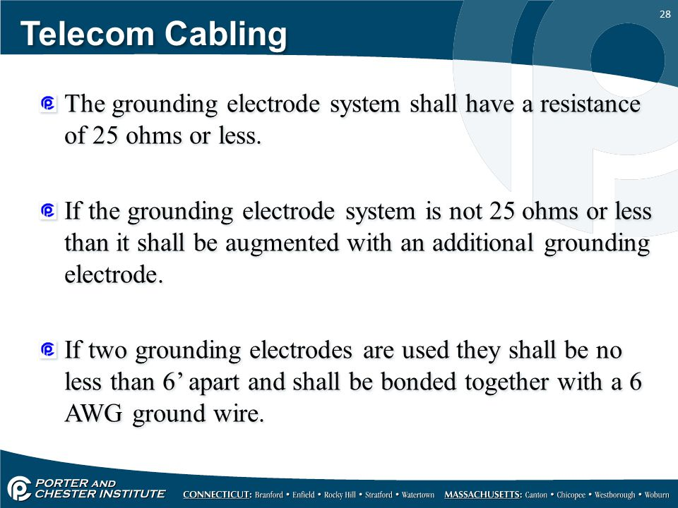 28 Telecom Cabling The grounding electrode system shall have a resistance of 25 ohms or less. If the grounding electrode system is not 25 ohms or less