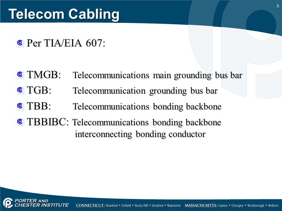 5 Telecom Cabling Per TIA/EIA 607: TMGB: Telecommunications main grounding bus bar TGB: Telecommunication grounding bus bar TBB: Telecommunications bo