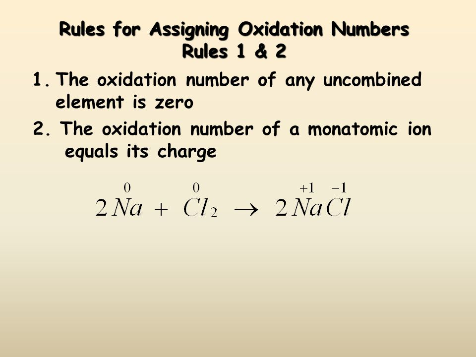 Rules for Assigning Oxidation Numbers Rules 1 & 2 1.The oxidation number of any uncombined element is zero 2.