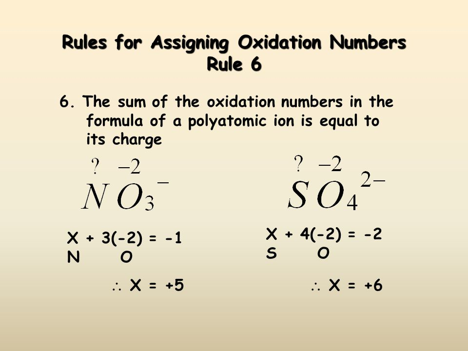 Rules for Assigning Oxidation Numbers Rule 6 6.