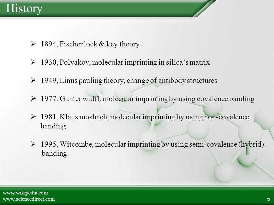 History  1894, Fischer lock & key theory.  1930, Polyakov, molecular imprinting in silica's matrix  1949, Linus pauling theory, change of antibody