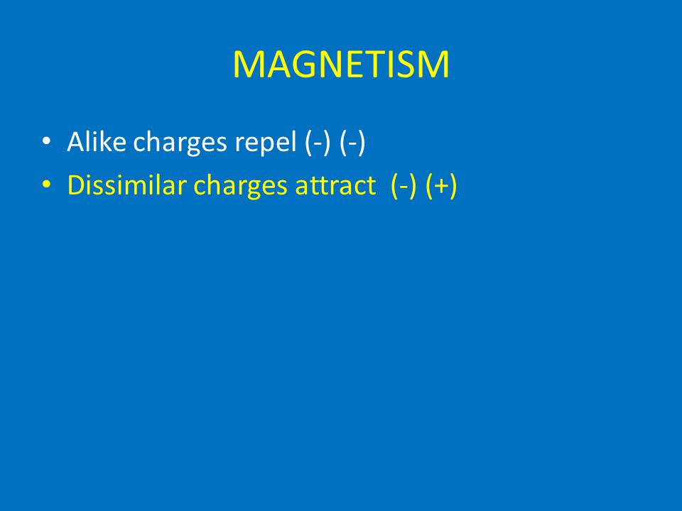 MAGNETISM Alike charges repel (-) (-) Dissimilar charges attract (-) (+)