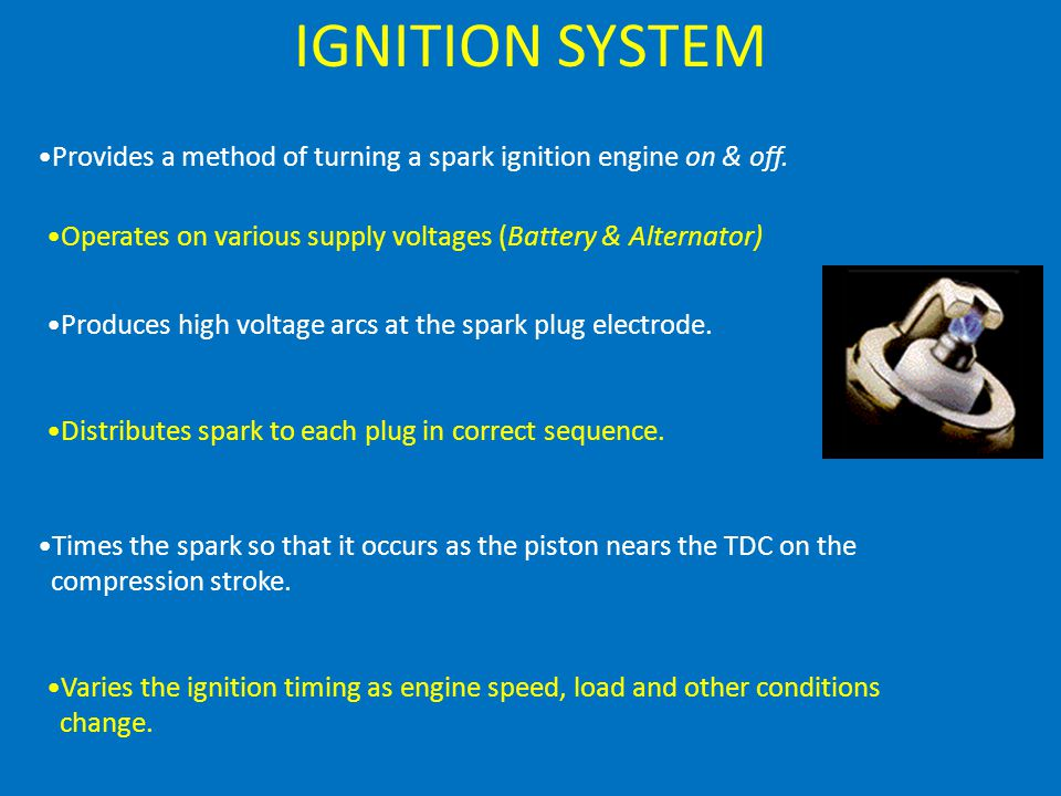 IGNITION SYSTEM Provides a method of turning a spark ignition engine on & off.