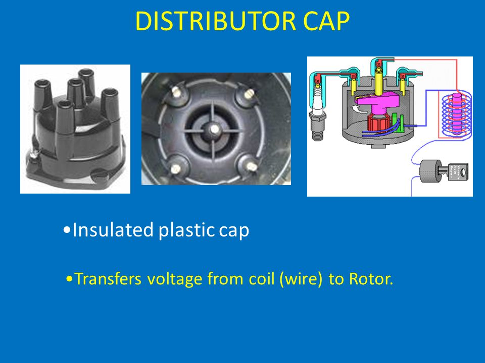 DISTRIBUTOR CAP Insulated plastic cap Transfers voltage from coil (wire) to Rotor.