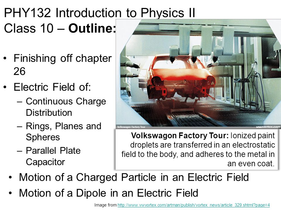Finishing off chapter 26 Electric Field of: –Continuous Charge Distribution –Rings, Planes and Spheres –Parallel Plate Capacitor PHY132 Introduction t