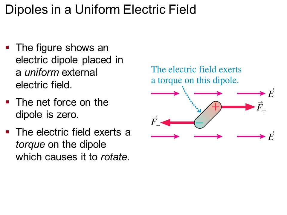 Dipoles in a Uniform Electric Field  The figure shows an electric dipole placed in a uniform external electric field.  The net force on the dipole i