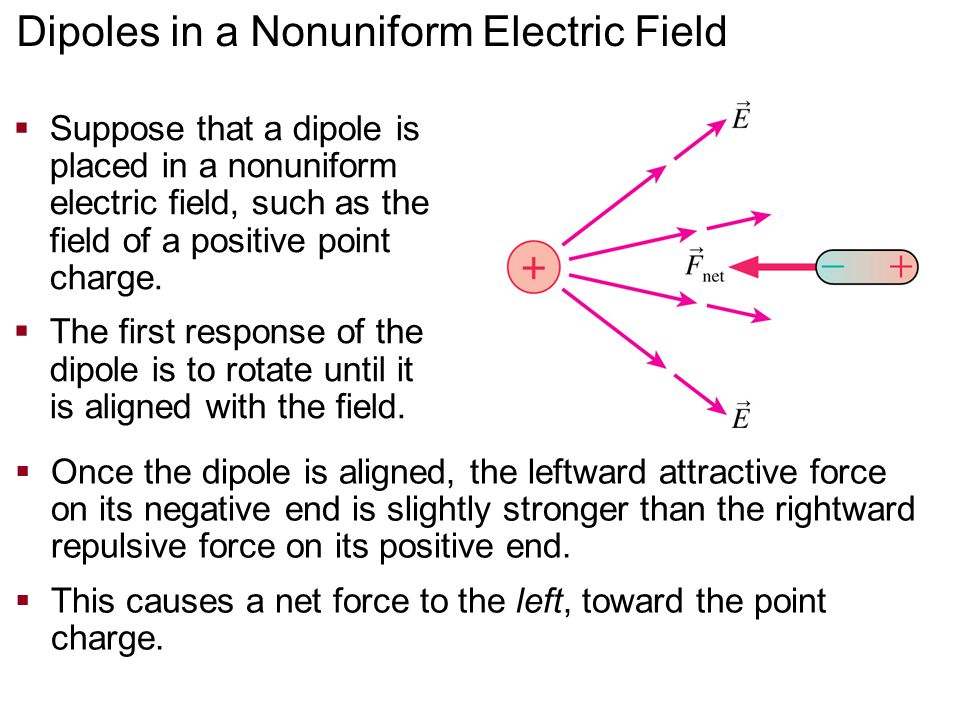 Dipoles in a Nonuniform Electric Field  Suppose that a dipole is placed in a nonuniform electric field, such as the field of a positive point charge.