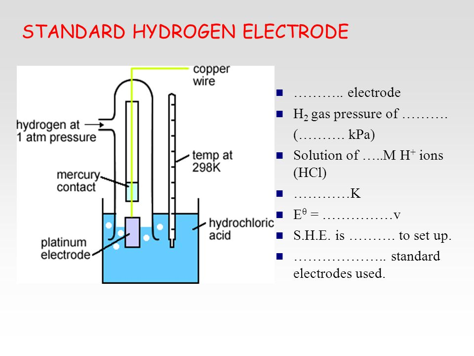 STANDARD HYDROGEN ELECTRODE ……….. electrode H 2 gas pressure of ………. (………. kPa) Solution of …..M H + ions (HCl) …………K E θ = ……………v S.H.E. is ………. to s