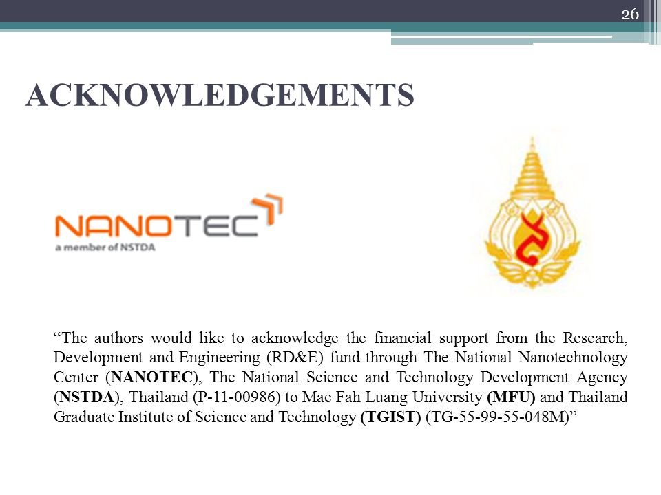 ACKNOWLEDGEMENTS The authors would like to acknowledge the financial support from the Research, Development and Engineering (RD&E) fund through The National Nanotechnology Center (NANOTEC), The National Science and Technology Development Agency (NSTDA), Thailand (P-11-00986) to Mae Fah Luang University (MFU) and Thailand Graduate Institute of Science and Technology (TGIST) (TG-55-99-55-048M) 26