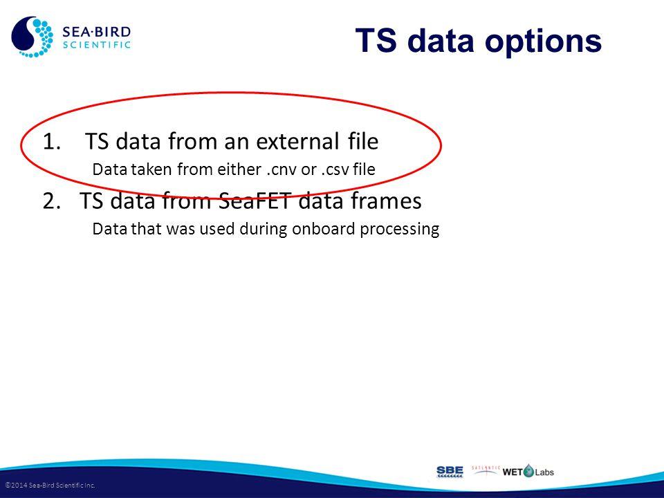 ©2014 Sea-Bird Scientific Inc. TS data options 1.