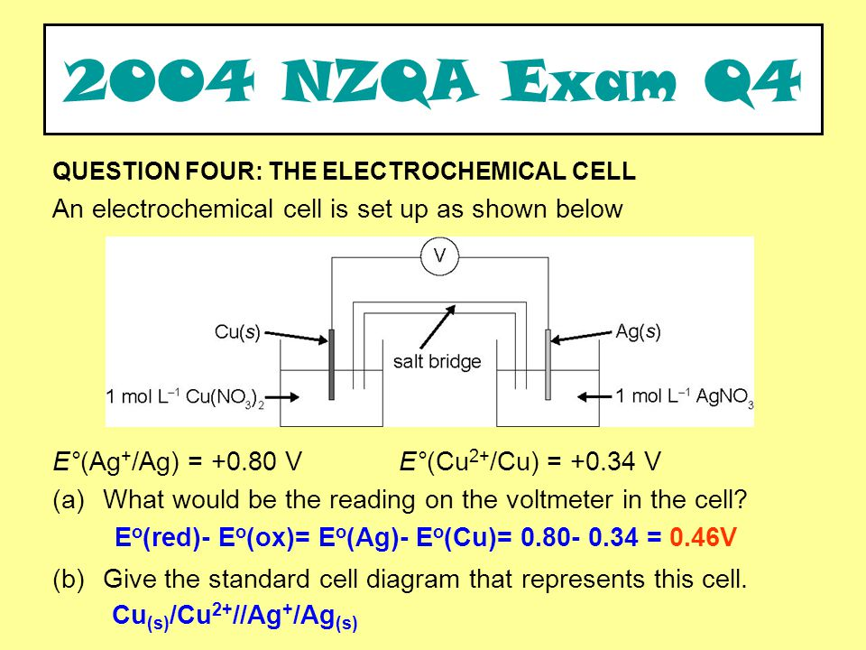 QUESTION FOUR: THE ELECTROCHEMICAL CELL An electrochemical cell is set up as shown below E°(Ag + /Ag) = +0.80 VE°(Cu 2+ /Cu) = +0.34 V (a)What would be the reading on the voltmeter in the cell.