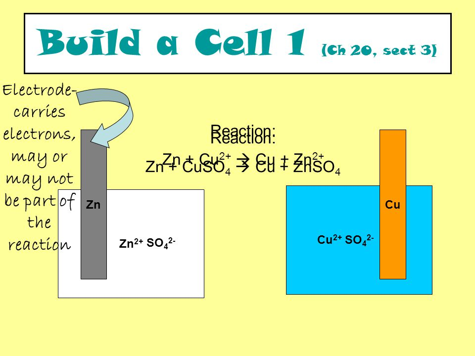 SO 4 2- Zn 2+ CuZn Reaction: Zn + CuSO 4  Cu + ZnSO 4 Build a Cell 1 (Ch 20, sect 3) SO 4 2- Cu 2+ Electrode- carries electrons, may or may not be part of the reaction Reaction: Zn + Cu 2+  Cu + Zn 2+