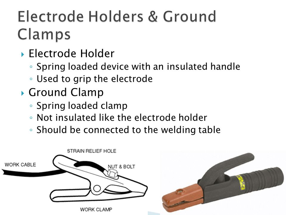  Electrode Holder ◦ Spring loaded device with an insulated handle ◦ Used to grip the electrode  Ground Clamp ◦ Spring loaded clamp ◦ Not insulated like the electrode holder ◦ Should be connected to the welding table