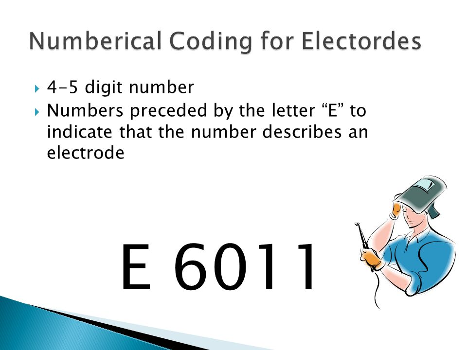  4-5 digit number  Numbers preceded by the letter E to indicate that the number describes an electrode E 6011