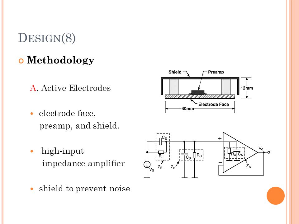 D ESIGN (8) Methodology A. Active Electrodes electrode face, preamp, and shield. high-input impedance amplifier shield to prevent noise